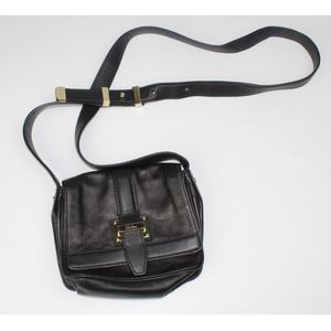 COLE HAAN Black Leather Mini Flap Crossbody Bag